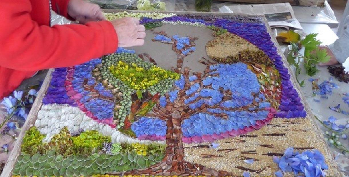 Elmton Well Dressing under construction 2019