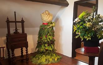 Victorian dress in greenery